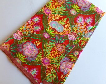 Floral Red African Fabric Dutch Wax Java Style