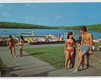 Swimming Boating Water Sports Tamiment Poconos Pennsylvania 1960s postcard