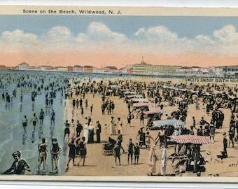 Bathing Beach Scene Wildwood New Jersey 1924 postcard