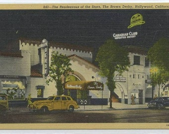 Brown Derby Club Vine Street Hollywood Los Angeles California 1940s linen postcard
