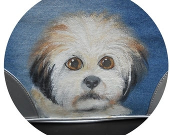 Shih Tzu Denim Tote ~ Hand Painted Shih Tzu ~ April Birthday  ~ Dog Purse ~ Pet Accessories ~ Dog Tote Bag