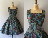 Vintage 1950s Dress - 50s Grey Floral Cotton Sundress