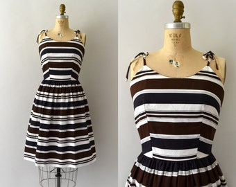 1960s Vintage Dress - 60s Black and Brown Striped Cotton Sundress