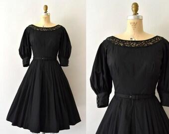 1950s Vintage Dress - 50s Black Cotton and Lace Dress