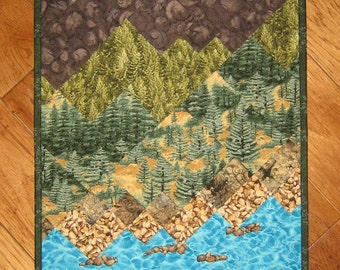 Lake Tahoe Art Quilt Fabric Wallhanging, Textile Art Quilt, Landscape Quilt, Mountain Cabin Lodge, Tahoe Quilt, Wall Art Quilt, Handmade