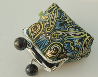 Silver metal frame coin purse/ large black beads/art deco style/geometric pattern/blue olive green black