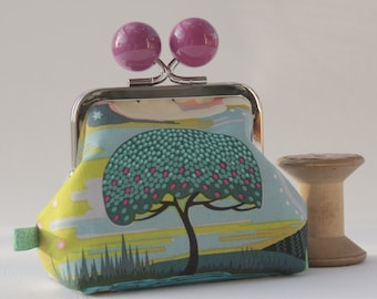 NEW Silver metal frame coin purse/ jewelry purse/ big purple bobbles/big tree/Enchanted in vibrant/Anna Maria Horner/teal blue green.