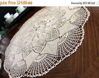 27 Inch Large Crochet Table Topper or Centerpiece, Tablecloth in Ecru, Vintage Table Linens 13666