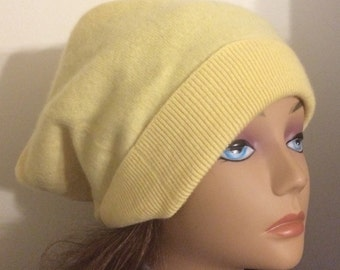 Girl cashmere yellow hat felted cashmere beanie hat super soft good protection girl hat upcycled cashmere sweater upcyvled kids clothing