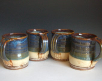 Hand thrown stoneware pottery large mugs set of 4  (LM-15)