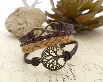 Tree Bracelet, Handmade Bracelet, Friendship Bracelet, Gift Ideas, Cord Bracelet, Charm Bracelet, Affirmation Bracelet, Infinity Bracelet