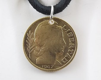 Argentina Coin Necklace, 10 Centavos, Coin Pendant, Mens Necklace, Womens Necklace, Leather Cord, Birth Year, 1947