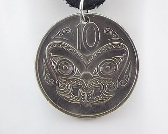 1978 New Zealand Coin Necklace, Maori Mask, Coin Pendant, Mens Necklace, Womens Necklace, Leather Cord, Vintage