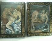 Rare Vintage Nude Erotic Devil Satyr with Nude Female PAIR of Paintings