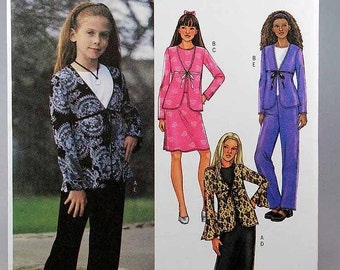 Butterick 3959, Girl's Jacket, Top, Skirt and Pants Sewing Pattern, Sizes 12, 14, 16, New and Uncut