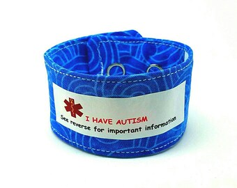 Adult Autism ID Fabric Bracelet Autism Awareness Adult Medical Alert Medic Alert Medical ID Autism Wristband