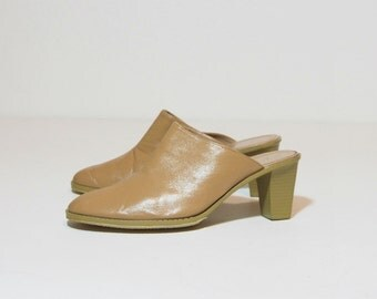 Vintage 90s Nude Leather High Heel Mules Size 9