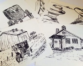 Vintage Cards, Unused, Set of 5, 1986 Amish Farm Blank Note Cards and Envelopes by Artist Shirley Lindner, Black White