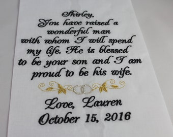 Personalized Mother of the Groom Embroidered Wedding Handkerchief Mom of Groom Wedding Gift Keepsake Favors by Simply Sweet Hankies