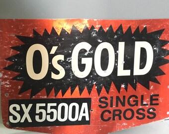 Vintage Farm Os Gold Sign