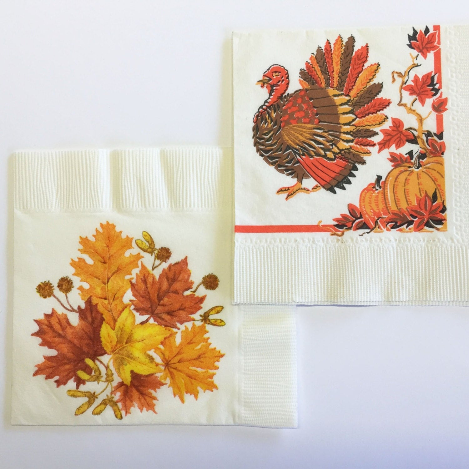 Vintage thanksgiving napkins turkey fall leaves paper for Turkey napkins
