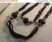 VALENTINES SALE Extra Long Gathered Strand Black Seed Bead Partywear Necklace - F033
