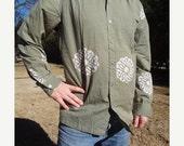 VALENTINES SALE Khaki Long Sleeved Men's Handmade Artwork Indian Cotton Button Down Pocket Shirt - Oliver H760