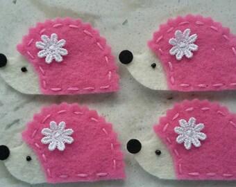 4 Handmade Felt Felties Hedgehog Appliques-Bubblegum Pink