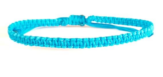 Classic Fair Trade Blue Cotton Thai Buddhist Wristband Bracelet Handcrafted Wristwear