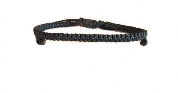 Black Wax Cotton Fair Trade Thai Buddhist Wristband Bracelet Handcrafted Wristwear