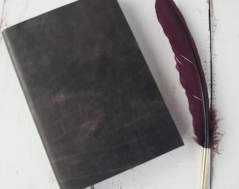 Antiqued Black Leather Journal - Vintage inspiration for writers & artists