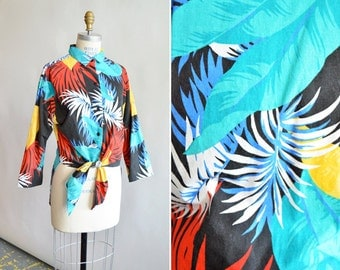Vintage 1980s TROPICAL print cotto shirt