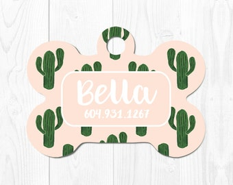 Dog Tag for Dogs Dog Tags Dog ID Tag Pet Gift Pet ID Tags Pet Tags Dog Tags Custom Pet Tag Custom Dog Tag Cactus Dog Tag ID Pink Cute