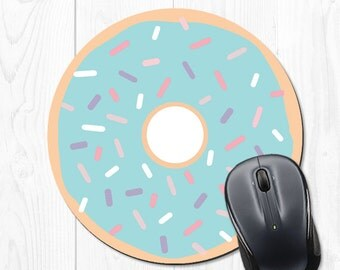 Mousepad Doughnut Mouse Pad Office Cubicle Decor Office Accessories Gift for Coworker Office Supplies Round Mousepad Cute Blue Mousepad
