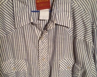 Vintage Mens Pearl Snap Striped Western Shirt XL