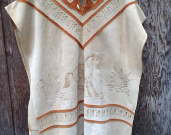 Vintage Leather HANDMADE Poncho // Rodeo // Native American // Western
