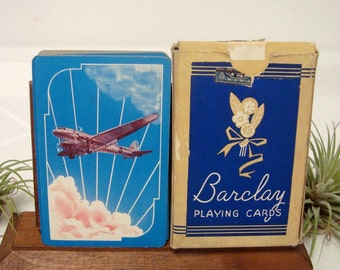 Airplane Playing Cards Barclay Vintage Card Deck Art Deco Plane in Blue Sky