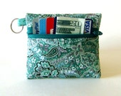 Coin Purse, Change Purse, Business Card Holder, Key Chain - Teal Paisley