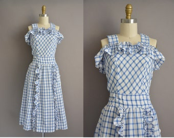 40s cotton plaid ruffle vintage dress / vintage 1940s dress