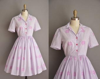 lavender cotton dress / 50s shirt dress / vintage 1950s dress