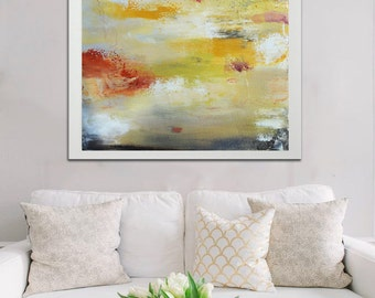 Giclee print from Acrylic painting white with gold gray and orange, giclee Print from abstract acrylic painting, gold giclee print painting