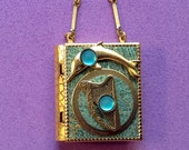 Celtic Harp and Dolphin-miniature book necklace with mermaid story inside