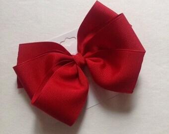 Red Grosgrain Hair Bow by Cheryl's Bowtique, girls, toddler, tween