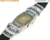Valentines Sales Art Deco Nude Cameo Movado Woman Wrist Watch Diamond Blue Sapphire Platinum Vintage 1920s Watch ref.13119-0030