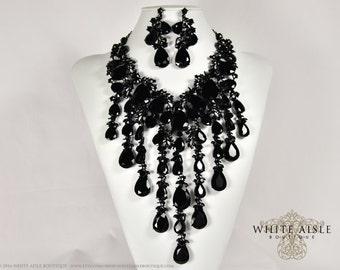 Black Wedding Jewelry Set, Crystal Statement Necklace Earrings, Vintage Inspired Rhinestone Necklace, Bridal Jewelry