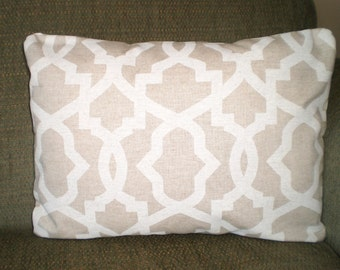 Tan Off White Lumbar Pillow Cover, Decorative Throw Pillow Cushions Natural Cloud Linen Off White Geometric Tone on Tone  12 x 16 or 12 x 18
