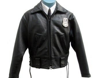 Motorcycle Police Jacket Vintage Mens Black Leather LAPD Policeman Cop Coat Made In USA Mns US Size 44 Short