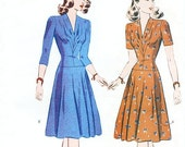 SZ 14/16/18 - Misses' V-Neckline Dropped Waist Dress in Two Variations - Vintage 1942 Reissued Pattern - Butterick 6239