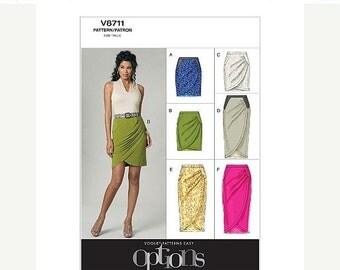 ON SALE Sz 6/8/10/12 - Vogue Skirt Pattern V8711 - Misses' Fitted Mock Wrap Skirt in Six Variations