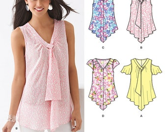 New Look Top Pattern 6213 -  Misses' Loose Fitting V-Neck Top in Four Variations - Sz 6 to 16 - New Look Patterns - Uncut